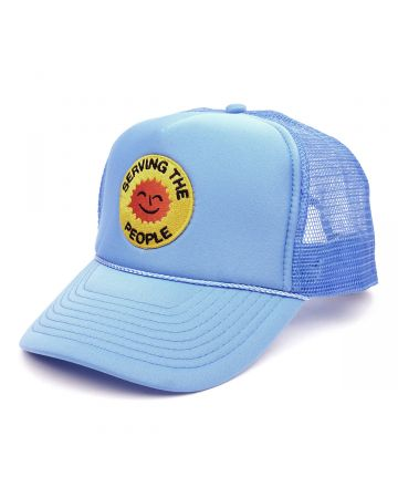 SERVING THE PEOPLE STP SMILEY FACE TRUCKER HAT / BLUE