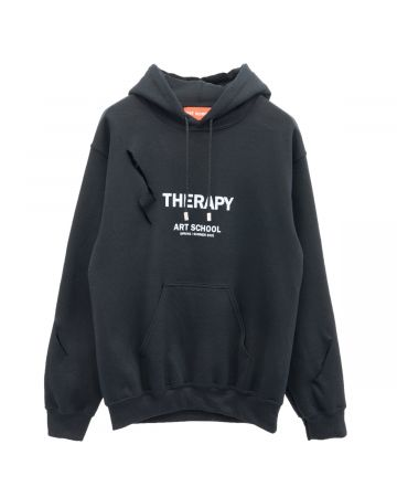 ART SCHOOL SHREDDED THERAPY HOODIE SKEW 1 / BLACK-WHITE