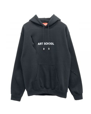 ART SCHOOL SHREDDED ART SCHOOL HOODIE SKEW 1 / BLACK-WHITE