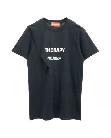 ART SCHOOL SHREDDED THERAPY SHORT SLEEVE / BLACK-WHITE
