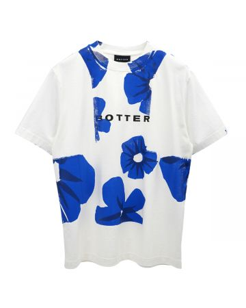 BOTTER SHORT SLEEVE CLASSIC BOTTER T-SHIRT / WHITE BLUE FLOWERS