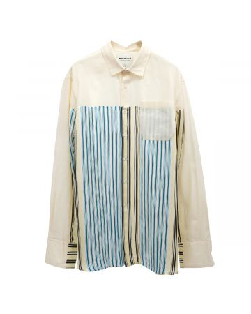 BOTTER SQUARE INCRUSTED SHIRT LONG SLEEVE / BEIGE MULTICOLOR STRIPES