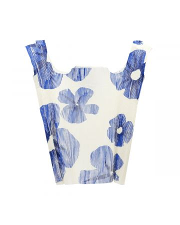 BOTTER PLEATED BAG TOP WITH BLUE FLOWER PRINT / WHITE