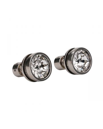 """""""EXCLUSIVE"""" BALENCIAGA DOT STUD XS EARRINGS P / 1407 : ANT SILVER-CRYSTAL"""