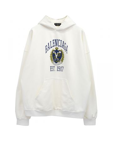 BALENCIAGA WIDE FIT HOODIE / 1375 : OFF WHITE-NAVY