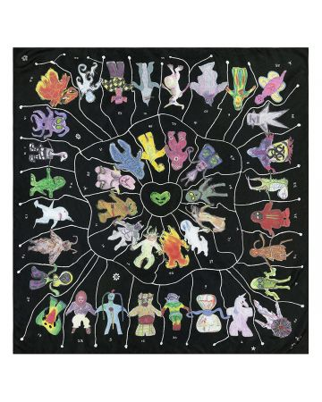 CLAIRE BARROW ALIENS SILK SCARF / BLACK
