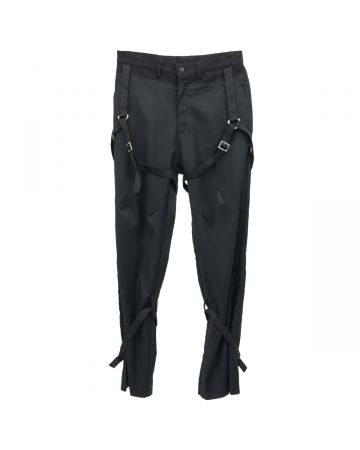 C2H4®️ PANELLED MILITARY STRIPE TAILORED TROUSERS / SOLEMN BLACK