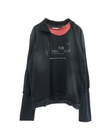 C2H4 PANELLED DISTRESSED DOUBLE LAYER LONG-SLEEVE T-SHIRT / BLACK-GREY