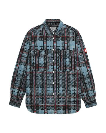 C.E CHECK PRINT DENIM SHIRT / INDIGO