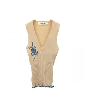 Charlotte Knowles FINE LYCRA KNITTED RIB WITH ROSE PRINT / BEIGE BLUE