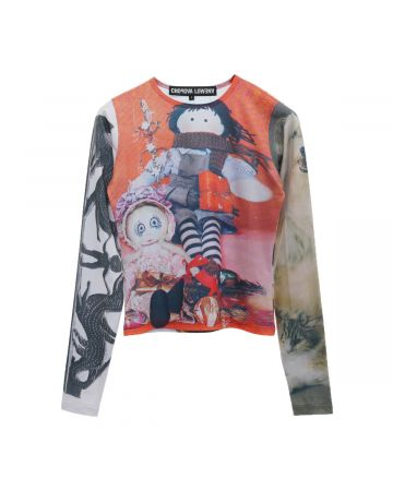 Chopova Lowena DOLLS LONG-SLEEVE TOP / RED-BLACK AND WHITE