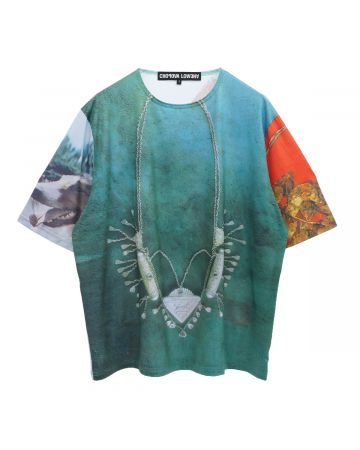 Chopova Lowena OVERSIZED GREEN NECKLACE T-SHIRT / MULTI