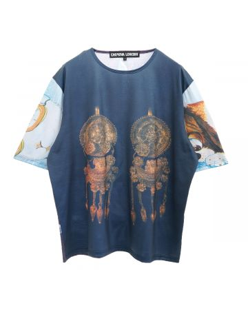Chopova Lowena OVERSIZED GOLD EARRINGS T-SHIRT / NAVY AND GOLD MULTI