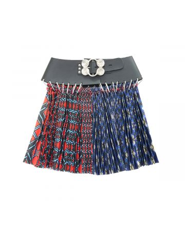 Chopova Lowena MINI SPLIT ARGYLE SKIRT BLACK BELT / BLUE AND RED MULTI
