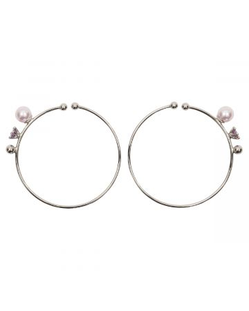 D'HEYGERE HOOP EAR CUFFS / SILVER-PINK-PURPLE