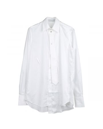 DELADA SHIRT WITH BUTTONS ON THE SIDE / WHITE AND WHITE&SILVER BUTTONS