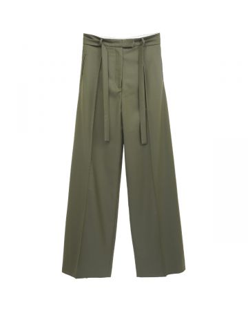 DELADA UNISEX WIDE LEG TROUSERS WITH STRAP BELT / MILITARY GREEN