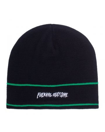 FUCKING AWESOME LITTLE STAMP STRIPE BEANIE / BLACK-GREEN
