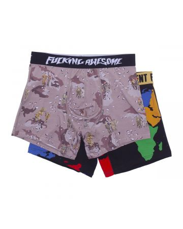 FUCKING AWESOME TWO PACK BOXER BRIEFS / SOLDIER-WORLD ART