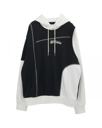 Feng Chen Wang PANELLED HOODIE / BLACK-WHITE
