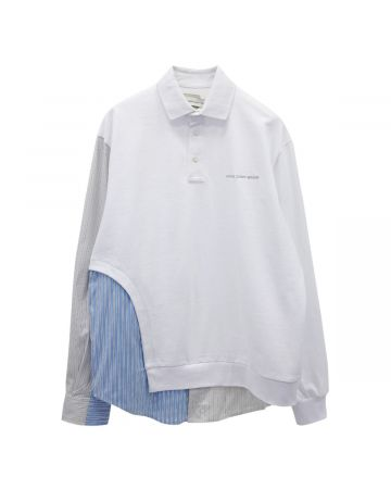 Feng Chen Wang POLO CONTRAST WITH SHIRT COLLAR / WHITE-BLUE STRIPE