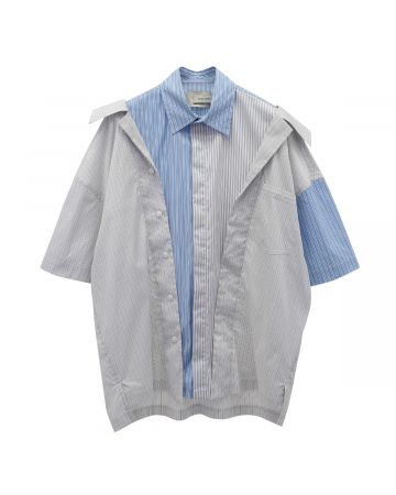 Feng Chen Wang 2 IN 1 SHIRT / GRAY&BLUE STRIPE
