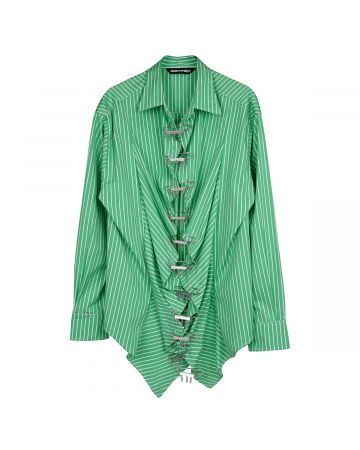FOO AND FOO FOO BUTTONDOWN / GREEN AND WHITE STRIPE