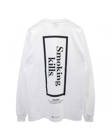 #FR2 SMOKING KILLS BOX LOGO LONGSLEEVE T-SHIRT / 001 : WHITE
