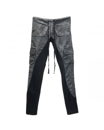 Greg Lauren WASHED SATIN 50/50 LONG SLIM LOUNGE / BLACK