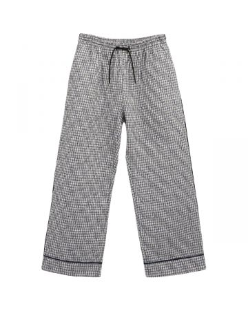 Georges Wendell BERNA DOWN EMBROIDERY PANTS / 007 : WHITE-BLUE PLAIDS