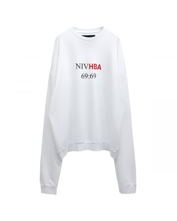 HOOD BY AIR PRINTED CREWNECK TERRY / 001 : WHITE