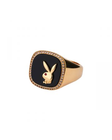 HATTON LABS x PLAYBOY MEMBERSHIP RING / GOLD-ONYX