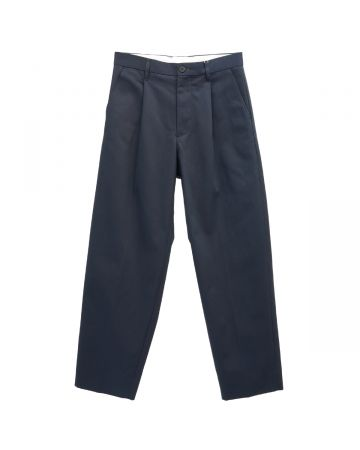 UNIVERSAL PRODUCTS COTTON 1 TUCK TROUSERS / NAVY