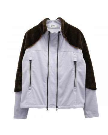Jichoi FLEECE DUAL ZIP JACKET / SKYBLUE-BROWN