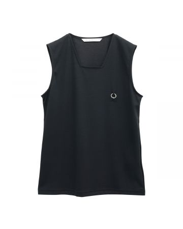 JOHN LAWRENCE SULLIVAN SQUARE NECK SLEEVELESS TOP WITH BODY PIERCING JEWELRY / BLACK