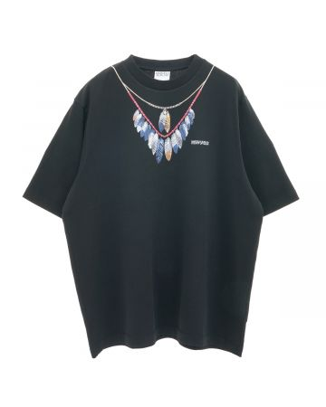 MARCELO BURLON DOUBLE CHAIN FEATHERS OVERTEE / 1045 : BLACK BLUE