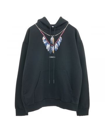 MARCELO BURLON DBL CHAIN FEATHERS OVER HOOD / 1045 : BLACK BLUE