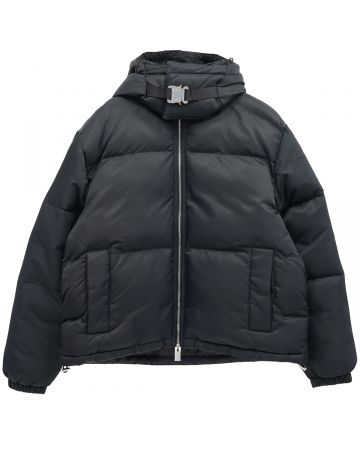 1017 ALYX 9SM HOODED PUFFER JACKET WITH BUCKLE / BLK0001 : BLACK