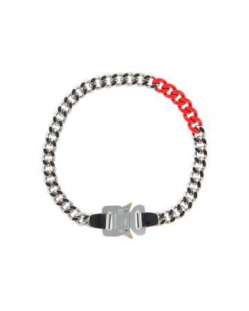 1017 ALYX 9SM COLORED LINKS BUCKLE NECKLACE / MTY0001:SILVER-RED