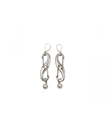 OHT NYC INFINITY PEARL EARRINGS / SILVER