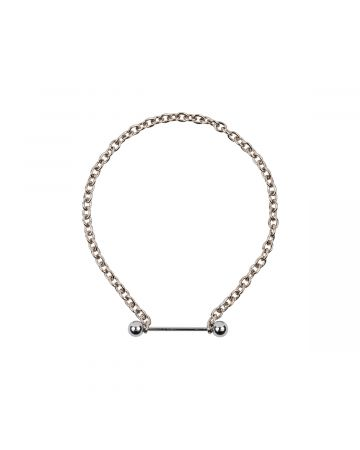 OHT NYC SILVER BARBELL PIERCING NARROW CHOKER / SILVER