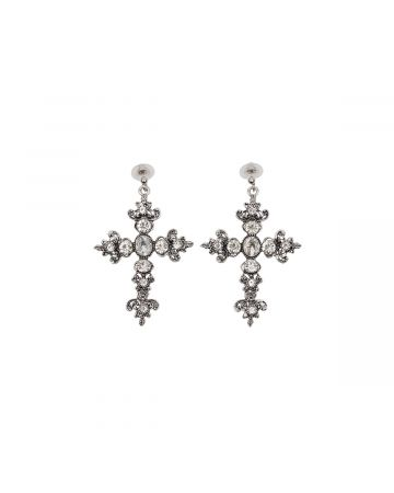 OHT NYC SILVER CRYSTAL CROSS EARRINGS / SILVER
