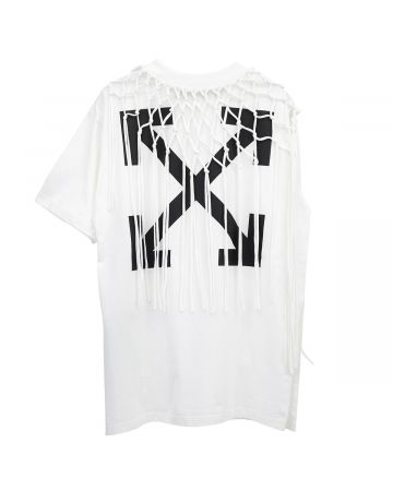 OFF-WHITE c/o Virgil Abloh WOMENS ASYMMETRICAL FISHNET T-SHIRT / 0110 : WHITE BLACK