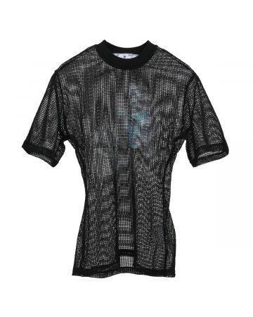 OFF-WHITE c/o Virgil Abloh WOMENS PANTHER DRAPED NET TOP / 1045 : BLACK BLUE