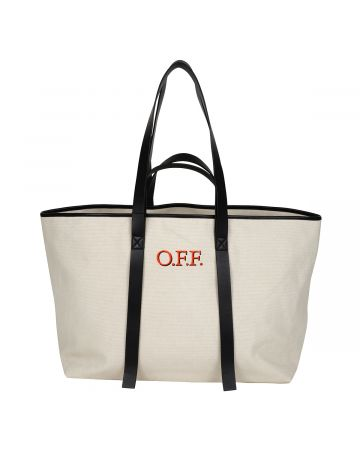 OFF-WHITE c/o Virgil Abloh WOMENS CANVAS COMMERCIAL TOTE / 6125 : BEIGE RED