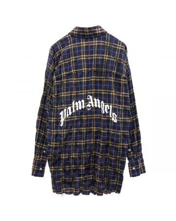 Palm Angels ROUND LOGO SHIRT / 4601 : NAVY BLUE WHITE