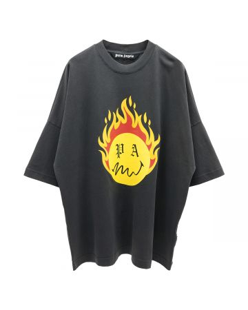 Palm Angels BURNING HEAD LOOSE TEE / 1018 : BLACK YELLOW