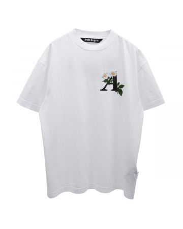 Palm Angels DAISY LOGO CLASSIC TEE / 0110 : WHITE BLACK