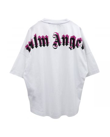 Palm Angels DOUBLED LOGO OVER TEE / 0132 : WHITE FUCHSIA