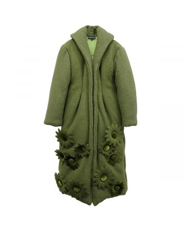 PAULA CANOVAS DEL VAS GREEN COAT / 10 FLOWERS-GREEN